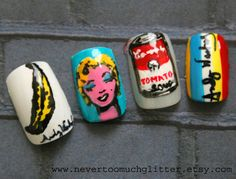 Andy Worhol inspired nails  Love these :D Pop Art Nails, La Nails, Nail Pops, Sassy Nails, Japanese Nail Art, Pop Design, Art Google, Hair And Nails, Andy Warhol Pop Art