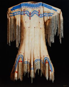 """""""1850 Blackfoot Dress"""" by Chuck Sabatino. Oil painting on canvas. The detailed depiction of beadwork causes many to think that there are actual beads attached to the canvas!"""