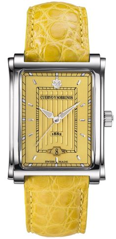 Cuervo y Sobrinos Watch Prominente Caramelo #add-content #bezel-fixed #bracelet-strap-alligator #brand-cuervo-y-sobrinos #case-depth-8-3mm #case-material-steel #case-width-32-x-36mm #date-yes #delivery-timescale-call-us #dial-colour-yellow #discount-code-allow #gender-mens #luxury #movement-automatic #new-product-yes #official-stockist-for-cuervo-y-sobrinos-watches #packaging-cuervo-y-sobrinos-watch-packaging #style-dress #subcat-prominente #supplier-model-no-1015-1ye
