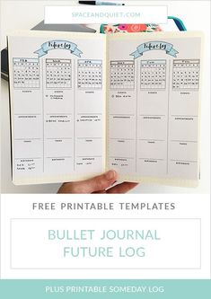 Bullet journaling uses a Future Log to store items for sometime in the future. A Future Log is usually created at the beginning of a new year, or anytime you begin a new notebook. Learn more about using a Future Log and Someday Log and download free printable templates to help you get started! #futurelog #somedaylog #planning #bulletjournaling #bulletjournal #bujo #bulletjournalfuturelog #bulletjournalprintable #calendar #spaceandquiet Bullet Journal September, Bullet Journal Wishlist, Bullet Journal Future Log Layout, Bullet Journal Weekly Spread, Bullet Journal Doodles, Bullet Journal Notebook, Bullet Journal How To Start A, Bullet Journal Hacks, Bullet Journal Printables