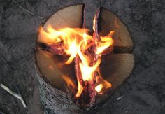 Swedish Fire Torch - One-Log Campfire