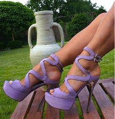 Elegant Purple Cut-Outs High Heel Sandals