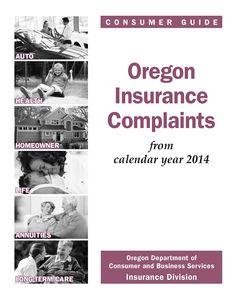 Oregon insurance complaints, by the Oregon Insurance Division