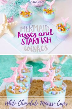 Make these delicious white chocolate mousse cups for your next mermaid themed party! Annaliese from Made of Sugar and Spice shows how simple this cute treat is to make. Mermaid Party Food, Mermaid Birthday Cakes, Little Mermaid Birthday, Little Mermaid Parties, Girl Birthday Themes, Kids Party Themes, Birthday Ideas, Party Ideas, 7th Birthday