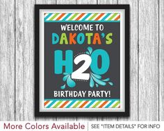 Birthday Party Sign - Printable Birthday Party Decorations - Birthday Water Party - Welcome Sign - DIY Digital File by PuggyPrints Birthday Party Decorations, Baby Shower Decorations, 2nd Birthday, Birthday Parties, Splash Party, Water Party, Party Signs, Diy Signs, Thank You Cards