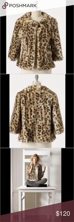 "Anthropologie Leopard Coat Out of the Jungle Faux Fur Coat by Elevenses. Brand new without tags. From the holiday 2011 Anthropologie collection. Perfect for fall and winter. Button closure at neck and front pockets. A true classic. 22.5"" underarm to underarm and 25"" L Anthropologie Jackets & Coats"