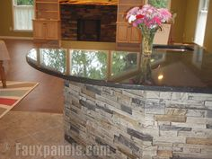 Drystack Quarry Gray - Faux Stone Panels - Update a worn tired fireplace for pennies