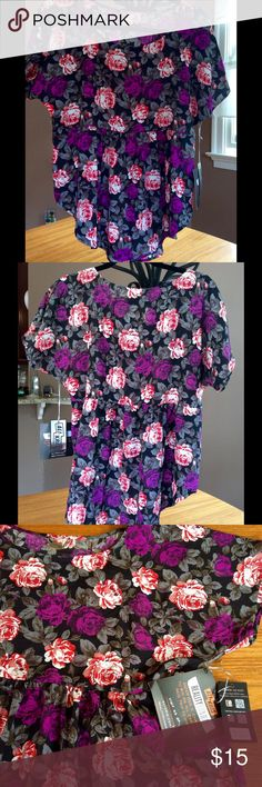 """NWT - Ali & Kris floral hi-low top Re-Posh - sadly, too small for me! Ali & Kris - size Large - floral top, hi-low style ✳️  From mid-back - front is aprx 24"""" & back is aprx 26"""" ✳️  Chest is aprx 18"""" across ✳️  Purple/red/white floral pattern ✳️  Size Large, 100% polyester ✳️  Short, cap sleeve ✳️  Seam at waist, pleated below ✳️  Never worn - NWT  Plz ask if you have questions.  Thank you for looking!  07.02.2016   Tops"""
