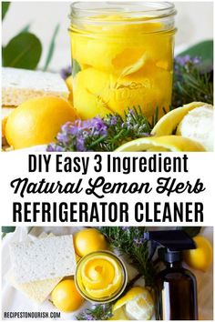 (ad) Make your own money-saving Easy DIY Natural Lemon Herb Refrigerator Cleaner with 3 common ingredients! This natural cleaner is so simple, chemical-free and cleans your fridge fast! Natural Teething Remedies, Natural Health Remedies, Natural Cures, Herbal Remedies, Vinegar Cleaner, Cleaning Spray, Cleaning Hacks, All Natural Cleaners, Natural Kitchen