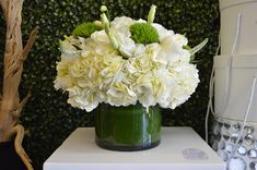 Nice Little Centerpiece. Hydrangea   Veronica   Green Dianthus   Banana Leaf #flowers #floraldesign #flower #floral #florist #diy #diyhomedecor #DIYflowers #wedding #DIYwedding #wholesaleflowers #homedesign #Centerpieces