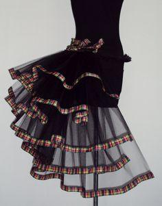 TARTAN Burlesque TuTu Skirt Bustle Black Belt 14 16 18 Sexy Goth Steam punk | eBay