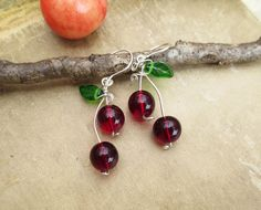 Cherry Dangle Earrings  Sterling Silver Wire by nicholasandfelice, $24.00