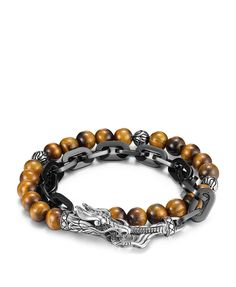 John Hardy Men's Naga Double Wrap Link Bracelet With Tiger's Eye   Bloomingdales's