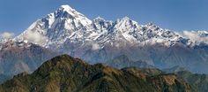 Panoramatic view from Jaljala pass of Dhaulagiri Stock Image
