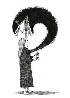 Creepy Drawings, Dark Art Drawings, Art Drawings Sketches, Cool Drawings, Arte Obscura, Arte Sketchbook, Creepy Art, Dark Fantasy Art, Psychedelic Art