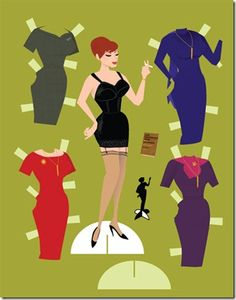 Joan from MadMen paper dolls. Naughty Secretary Dress-up for Adults.
