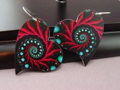 fractal print on shrink plastic heart by MoonWillowJewelry on etsy $16