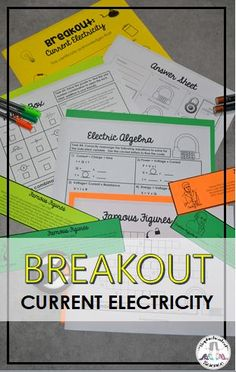 This current electricity activity includes eight escape room breakout challenges including electricity topics such as famous scientists, electrical discoveries and technology, properties of parallel and series circuits, schematic symbols and diagrams, and electricity algebra and word problems. Michael Faraday, Science Room, Small Group Activities, High School Classroom, Science Resources, Escape Room, Word Problems, Circuits, Student Work