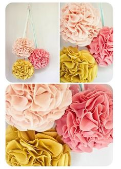 Fabric pom pom tutorial    http://www.oncewed.com/24140/wedding-blog/diy-wedding/diy-fabric-poms/