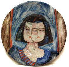 BRUNO CASSINARI DOPPIO VOLTO DI DONNA DIPINTO PIATTO CERAMICA 50cm PEZZO UNICO ☲☲☲☲☲☲☲☲☲☲☲☲☲☲☲☲☲☲☲☲ TWO FACED WOMAN ON CERAMIC PLATE (unique piece)