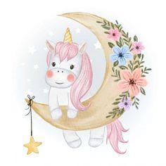 Texture Illustration, Unicorn Illustration, Moon Illustration, Watercolor Illustration, Watercolor Artists, Watercolor Painting, Cartoon Unicorn, Unicorn Art, Baby Cartoon