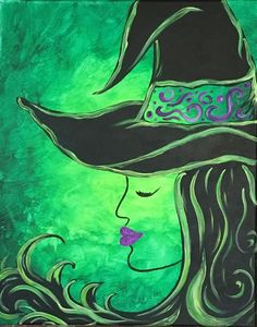 A Wicked Night Halloween Themed Painting at Pinot's Palette Halloween Canvas Paintings, Fall Canvas Painting, Witch Painting, Halloween Painting, Autumn Painting, Autumn Art, Light Painting, Diy Painting, Painting & Drawing