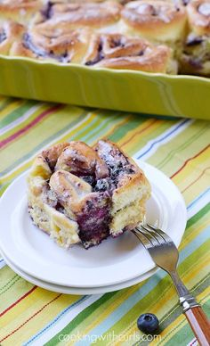 Blueberry Sweet Rolls with Lemon Glaze | cookingwithcurls.com