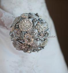 Crystal Silver Wedding Brooch Bouquet. Deposit by Rubybloomscom