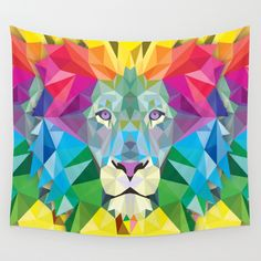 Geometric Lion Wall Tapestry by Leatherwood Design