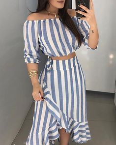 ivrose / Striped Off Shoulder Top & Ruffles Skirt Sets Striped Off Shoulder Top, Off Shoulder Tops, Dress Outfits, Casual Outfits, Fashion Dresses, Dress Casual, Summer Outfits, Dress Shoes, Ruffle Skirt