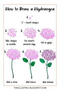 Drawing Doodles Ideas In this drawing tutorial, learn how to draw a hydrangea flower by using two basic shapes - In this drawing tutorial, learn how to draw a hydrangea flower by using two basic shapes Flower Drawing Tutorials, Flower Sketches, Watercolour Tutorials, Art Tutorials, Art Sketches, Drawing Flowers, Painting Flowers, Simple Flower Painting, Drawing Ideas