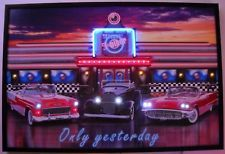 Drive in Diner Automobilia Neon Led Poster Sign Bar