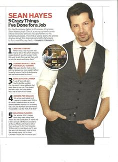 Sean Hayes, Full Page Pinup Clipping