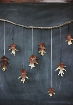 DIY Giving Thanks Golden Leaf Garland : something your guests create while waiting for dinner #Anthropologie #PinToWin