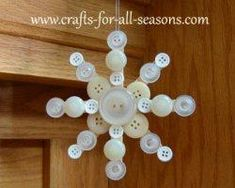 Things Needed for the Button Snowflake 3 or 4 wooden craft sticks (popsicle sticks) various white, silver, gold, or cream colored buttons, in various sizes craft glue of your choice - Crafting Tips Glue Crafts, Craft Stick Crafts, Christmas Projects, Holiday Crafts, Holiday Fun, Crafts For Kids, Diy Crafts, Christmas Button Crafts, Craft Ideas