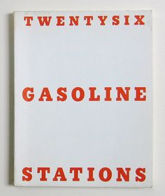 1963: In January, Twentysix Gasoline Stations in an edition of 400 numbered copies. Using mass production printing techniques, it comprises 26 utilitarian black and white photographs of gas stations taken along Route 66 the year before. Detached and documentary style, as a catalog of raw visual data, it looks back to the photography of Walker Evans and Robert Frank, and forward to the work of Bernd and Hilla Becher.