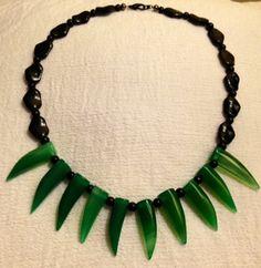 Black and Green Jade Spike Statement by JewelryJennyTraister, $38.00
