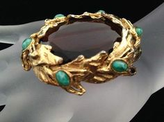 Schiaparelli Amber and Turquoise Art Glass Brooch