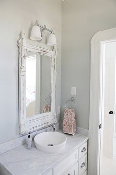 MMH-loved the framed mirrors instead of just a piece of glass stuck up there; love this idea using the side from a dresser