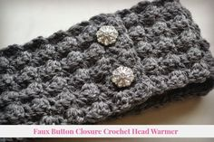 Crochet Patterns Headband Faux Button Closure Crochet Headband Free Pattern from Nikki In Stitches Crochet Headband Free, Knitted Headband, Crochet Beanie, Knit Or Crochet, Crochet Scarves, Crochet Crafts, Crochet Projects, Crochet Cable, Crocheted Hats