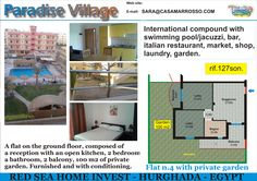 A flat on the ground floor in Paradise Village compound Hurghada, Red Sea For sale.