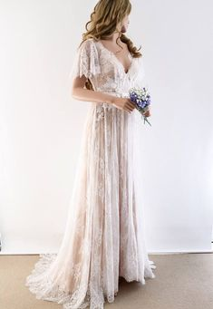 Lace Wedding Dress/ Unique Wedding Dress/ Boho Wedding Gown with sleeves/ Beach Wedding Dress/ Open back dress - Oksana I. Lace Wedding Dress/ Unique Wedding Dress/ Boho Wedding Gown with sleeves/ Beach Wedding Dress/ Open back dress - Oksana I. Boho Wedding Gown, Wedding Gowns With Sleeves, V Neck Wedding Dress, Rustic Wedding Dresses, Bridal Gowns, Dresses With Sleeves, Wedding Beach, Trendy Wedding, Lace Sleeves