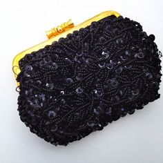 black change purse /  50s black beaded purse  /  by JojosJewelbox, $38.00