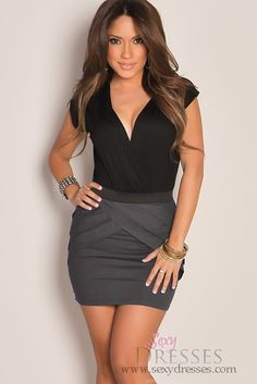 Charcoal Grey Black Color Block V-Neck Ruched Pleated Cocktail Dress