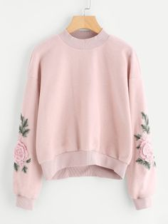 Shop Rose Embroidered Applique Sleeve Sweatshirt at ROMWE, discover more fashion styles online. Teen Fashion Outfits, Cute Fashion, Outfits For Teens, Girl Fashion, Cute Sweaters, Cute Shirts, Cute Sweatshirts For Girls, Cute Casual Outfits, Pretty Outfits