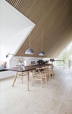 Home Living Room, Living Room Designs, Wood Slat Wall, Grey Kitchen Designs, Loft Design, House Design, Interior Architecture, Interior Design, Wooden Ceilings