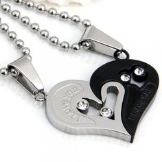 [$5.17] Set Stainless Steel Rhinestone Heart Couple Pendant Necklace Chain