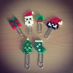Christmas paper clips hama mini beads by perlerboutique