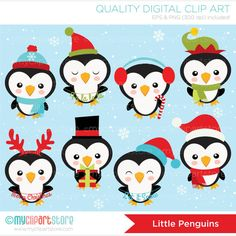 Imágenes Prediseñadas pingüinos / pingüinos de por MyClipArtStore