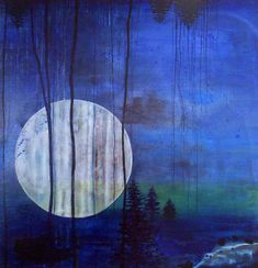 """Saatchi Art is pleased to offer the painting, """"Moonshine (SOLD),"""" by Tanja Vetter. Original Painting: Oil on N/A. Arte Yin Yang, All Nature, You Draw, Moon Art, Blue Art, Art And Architecture, Painting Inspiration, Amazing Art, Photo Art"""